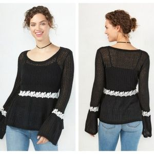 LC Lauren Conrad Lace Trimmed Peplum Sweater Large